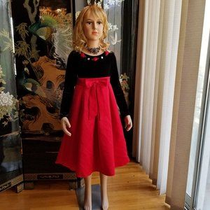 Youngland Size 7 Red Black Formal Christmas Dress